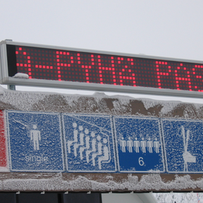 200mm text matrix display in a skiing center